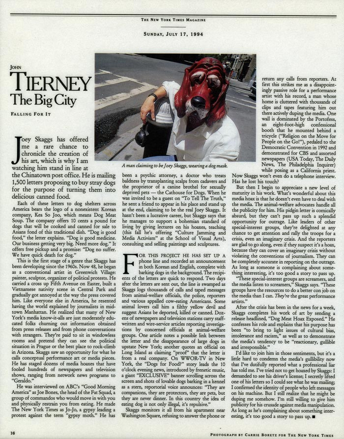 The Big City: Falling For It, by John Tierney, The New York Times Magazine, July 17, 1994