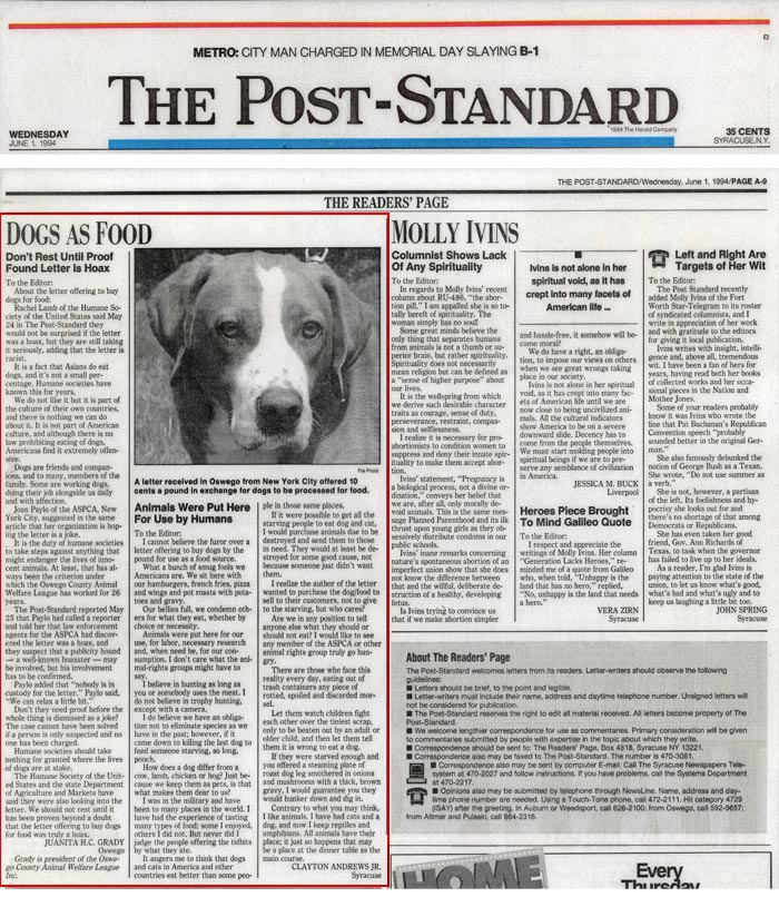 The Readers Page: Dogs as Food - Don't Rest Until Proof Found Letter is a Hoax + Animals Were Put Here for Use by Humans, The Post-Standard, June 1, 1994