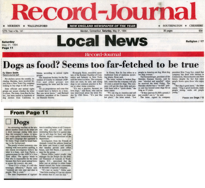 Dogs as food? Seems too far-fetched to be true, Record-Journal, May 21, 1994