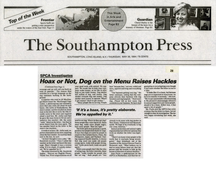SPCA Investigates: Hoax or Not, Dog on the Menu Raises Hackles, The Southampton Press, May 26, 1994