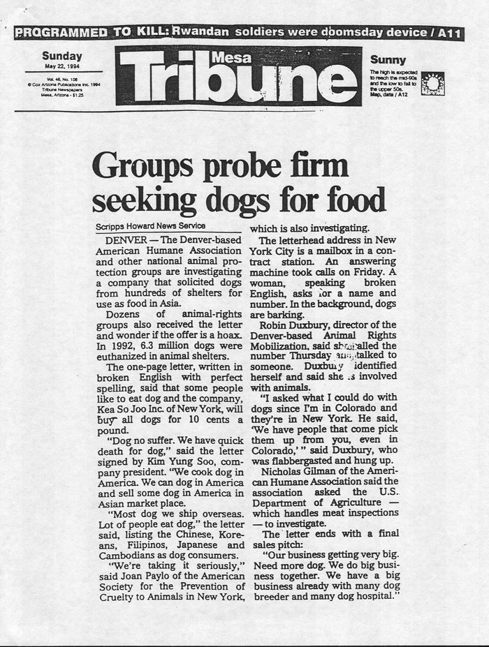 Groups probe firm seeking dogs for food, Mesa Tribune, May 22, 1994