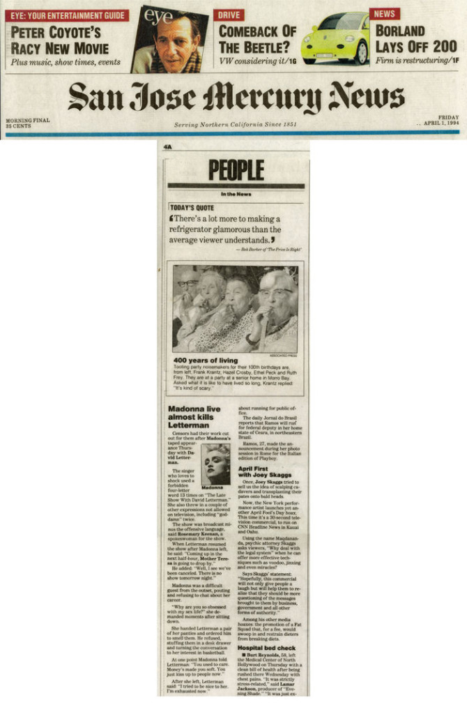 People in the News: April Fools' with Joey Skaggs, San Jose Mercury News, April 1, 1994