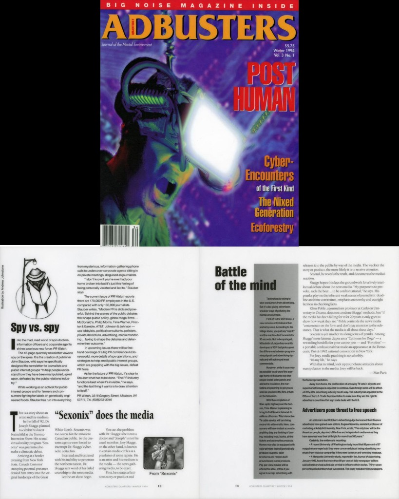 """""""Sexonix"""" does the media, Adbusters Quarterly, Winter 1994"""