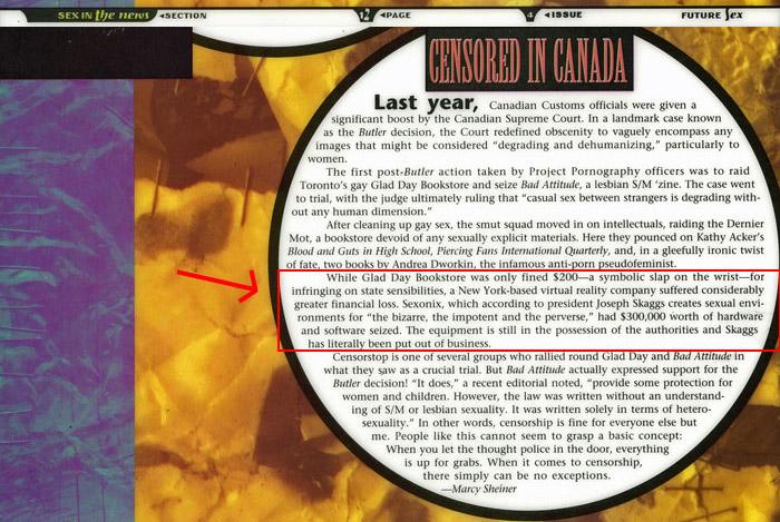 Censored in Canada (Excerpt), Future Sex, 1993