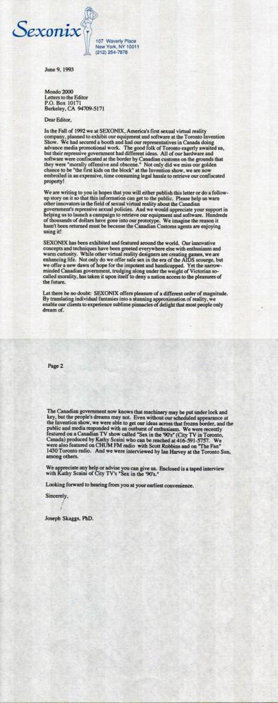Correspondence from Sexonix to Mondo 2000, June 9, 1993