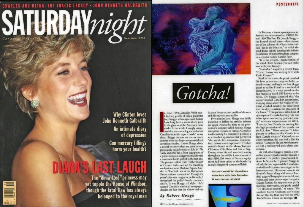 Postscript: Gotcha!, by Robert Hough, Saturday Night, November 1993