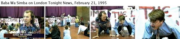 Joey Skaggs as Baba Wa Simba on London Tonight News, February 21, 1995