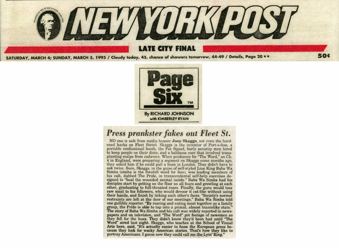 Page Six: Press prankster fakes out Fleet St., New York Post, March 5, 1995