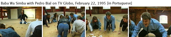 Joey Skaggs as Baba Wa Simba being interviewed by Pedro Bial of Brazil's TV Globo, February 22, 1995 [in Portuguese]