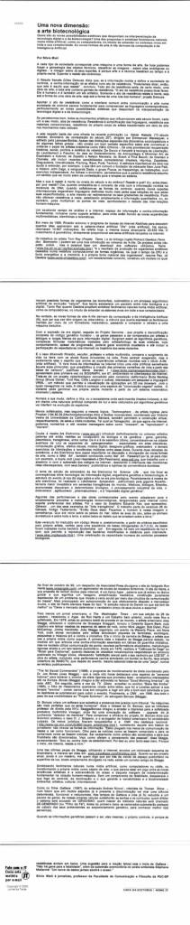 Uma nova dimensão: a arte biotecnológica, Por Silvio Mieli, December 2, 2000