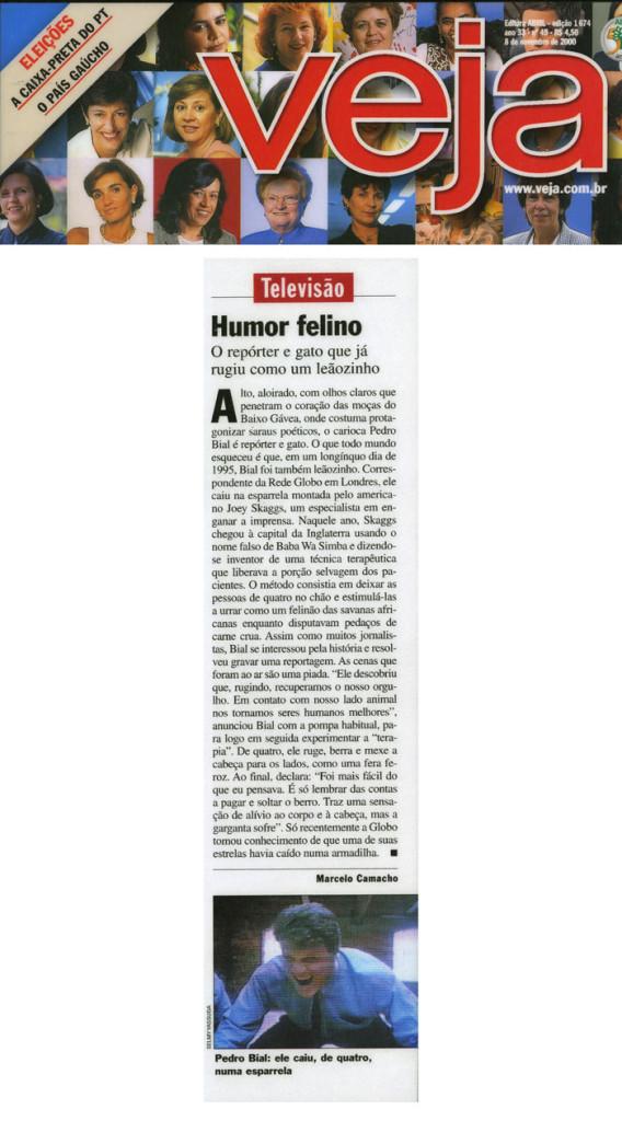 Televisão: Humor felino, Veja (retraction), November 8, 2000