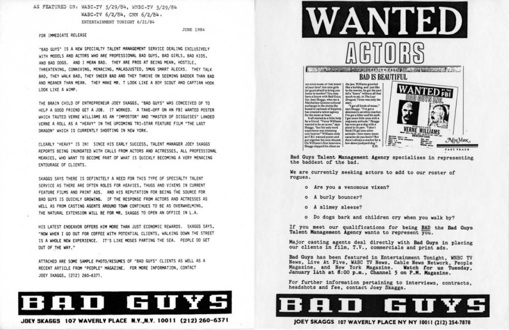 Bad Guys Talent Management Agency press release, June 1984