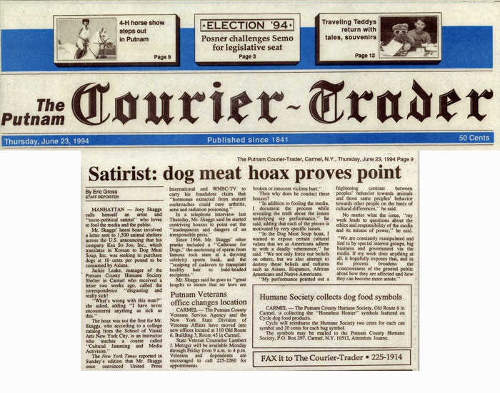Satirists: dog meat hoax proves point, The Putnam Courier Trader, June 23, 1994