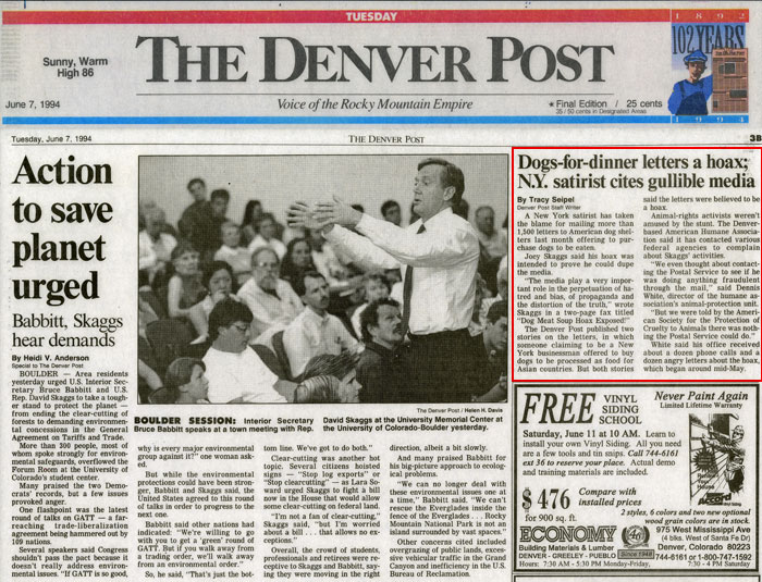 Dogs-for-dinner letters a hoax; N.Y. satirist cites gullible media, The Denver Post, June 7, 1994