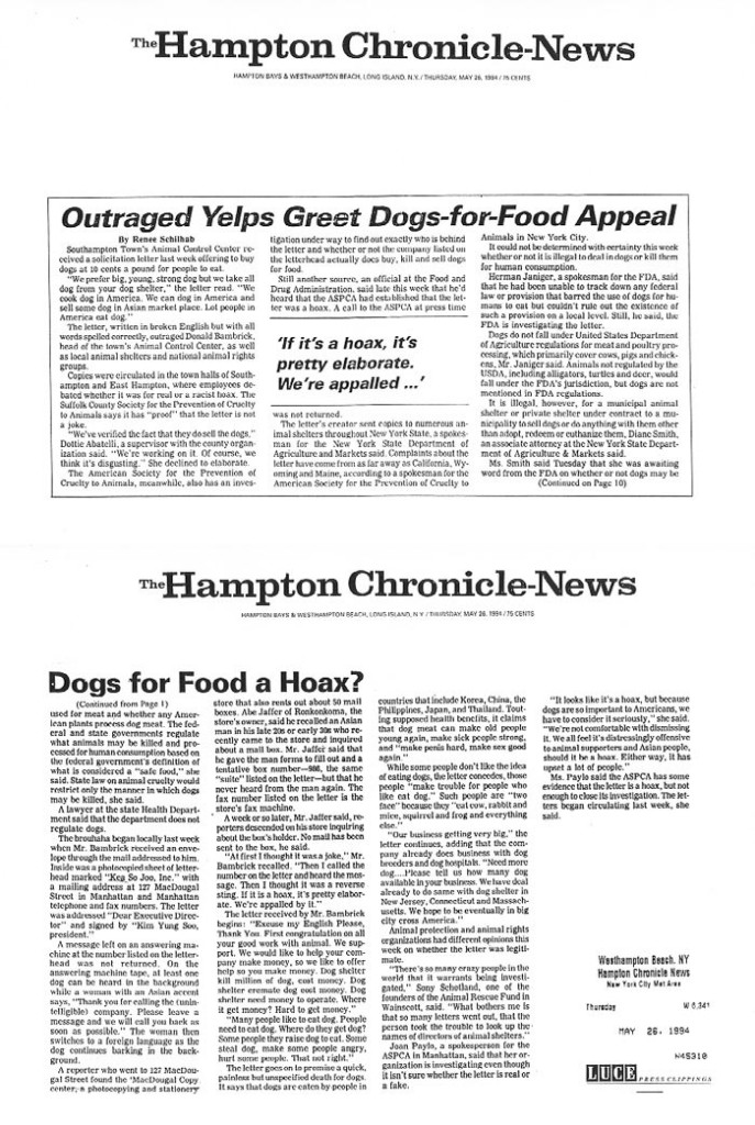 Outraged Yelps Greet Dogs-for-Food Appeal, The Hamptons Chronicle-News, May 26, 1994