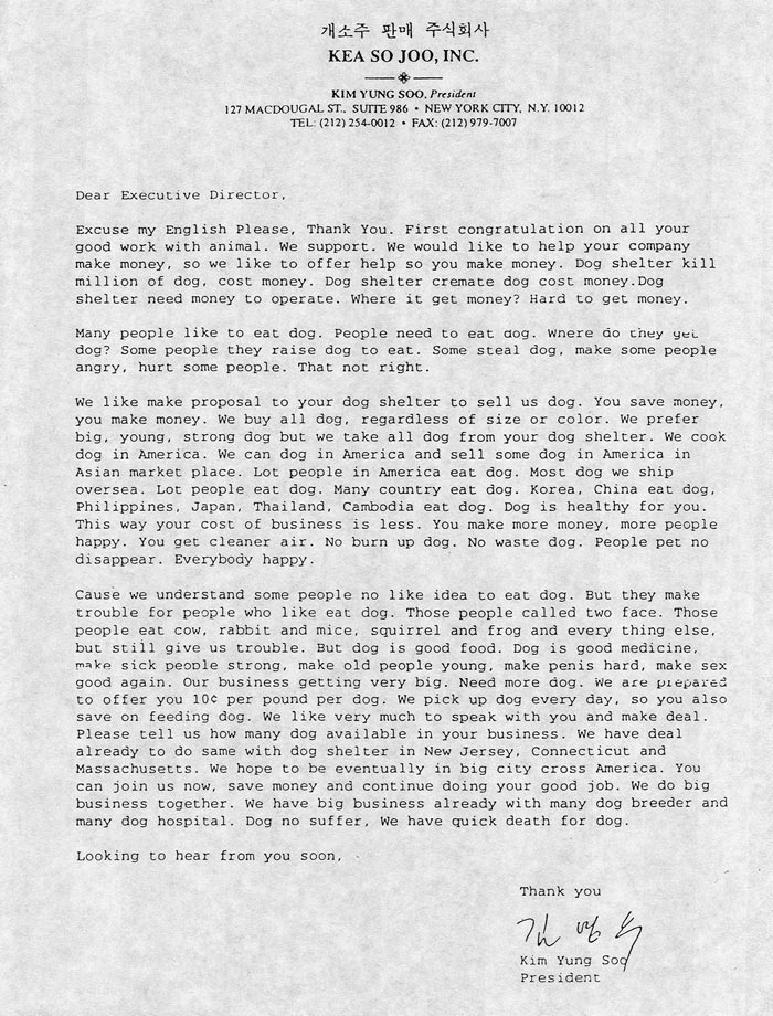 Joey Skaggs' Dog Meat Soup letter to animal shelters
