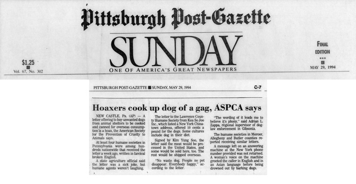 Hoaxers cook up dog of a gag, ASPCA says, Pittsburgh Post-Gazette, May 29, 1994