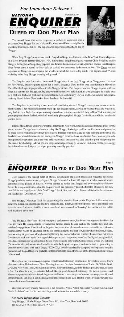 National Enquirer & Boing Boing hoax exposé press release