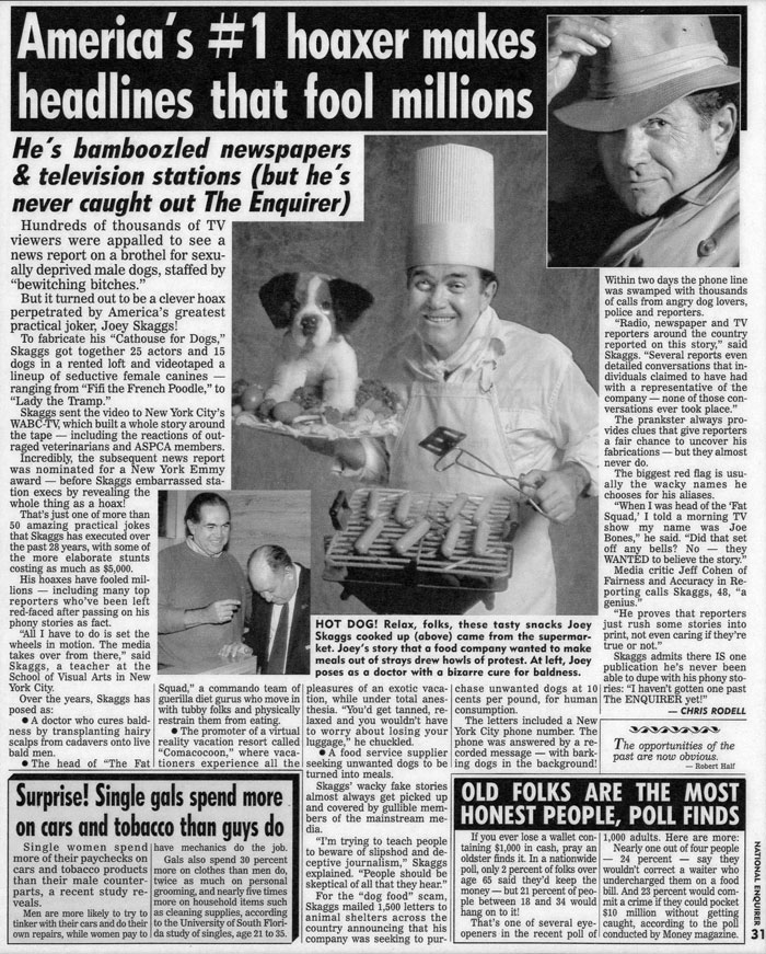 Americas #1 Hoaxer Makes Headlines That Fool Millions..., National Enquirer, October 25, 1994