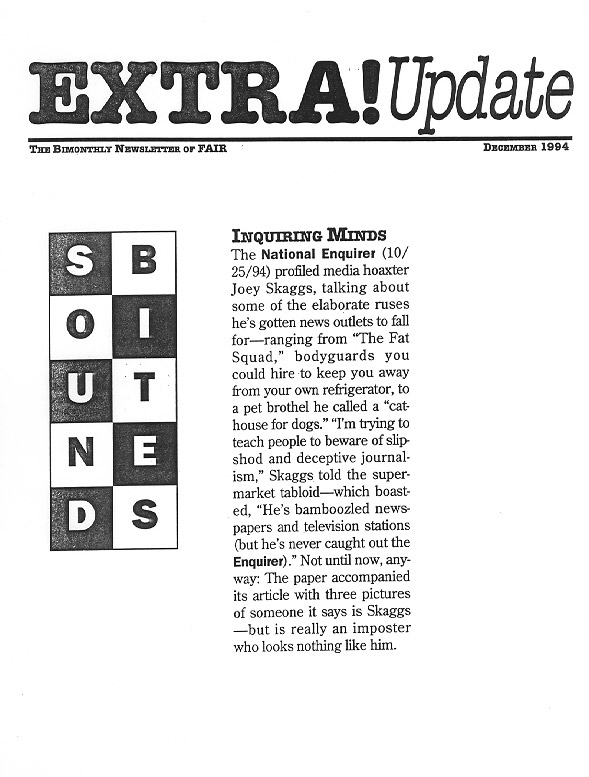 Sound Bites: Inquiring Minds, FAIR Extra Update, December 1994
