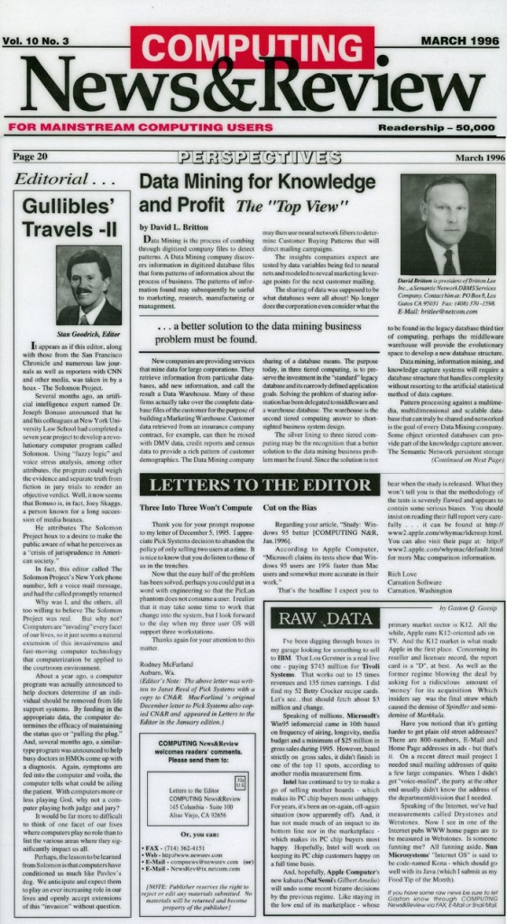 Editorial: Gullibles' Travels-II, Computing News & Review, March 1996