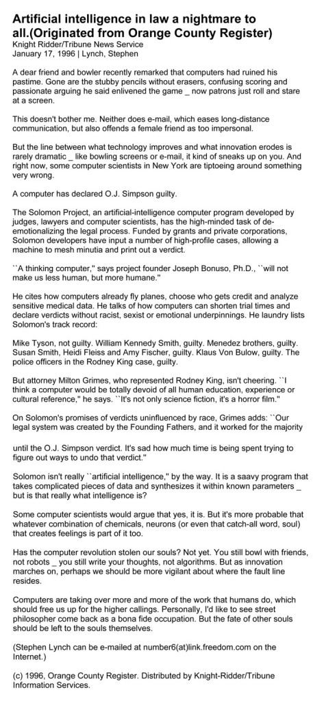 Artificial intelligence in law a nightmare to all, Knight Ridder/Tribune News Service, by Steven Lynch, January 17, 1996