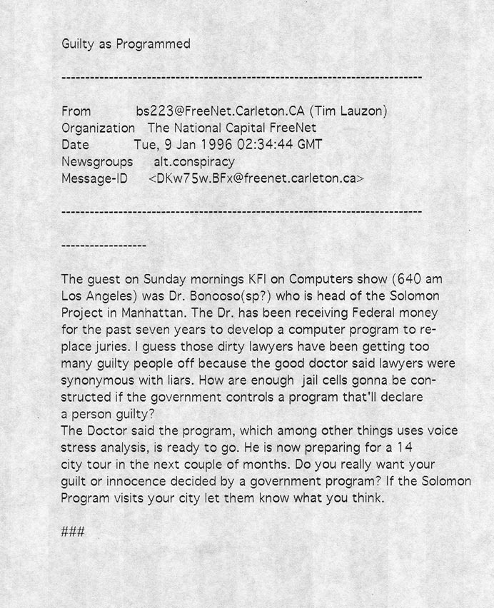 Guilty as Programmed, The national Captial FreeNet, January 9, 1996