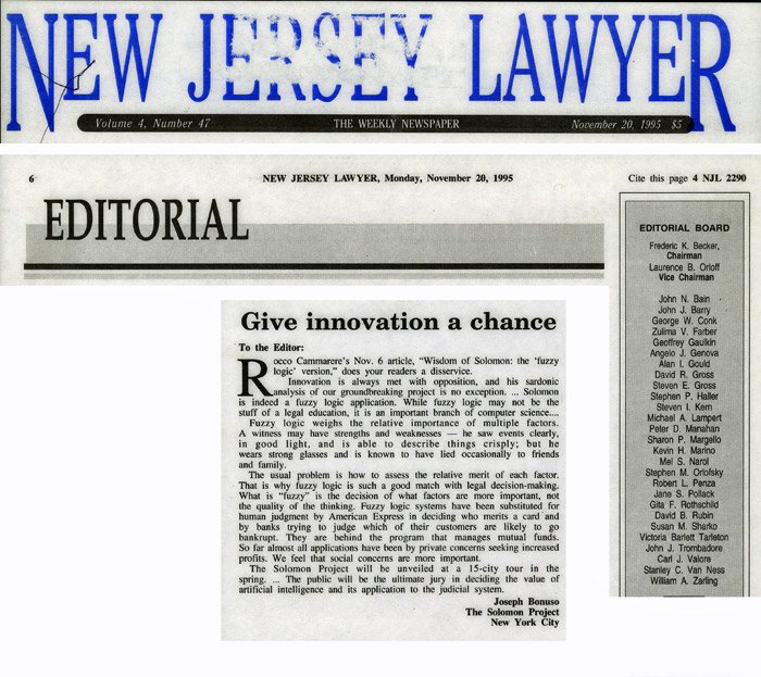 Editorial: Give innovation a chance, by Joseph Bonuso, New Jersey Lawyer, November 20, 1995