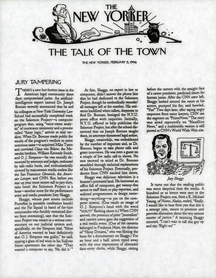 Talk of the Town: Jury Tampering, The New Yorker, February 5, 1996