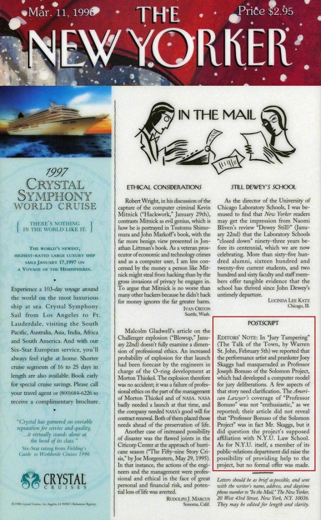 In the Mail: Postscript, The New Yorker, March 11, 1996