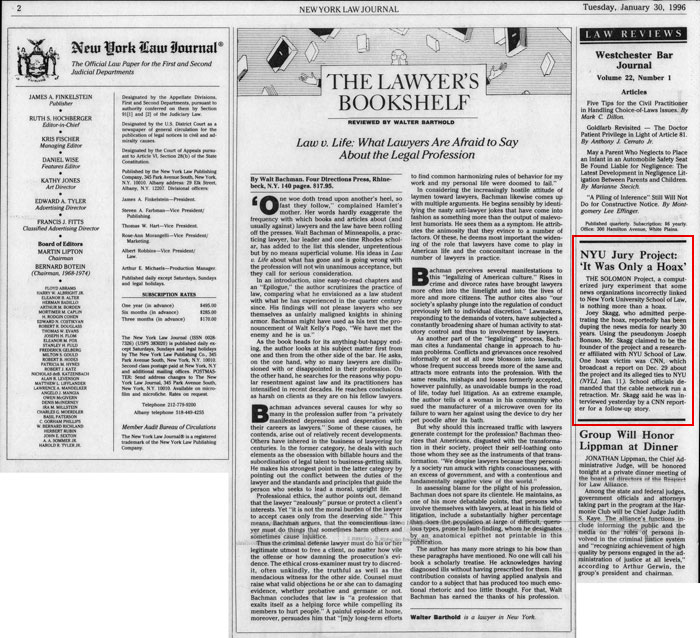 """Law Reviews: NYU Jury Project: """"It Was Only a Hoax"""", New York Law Journal, January 30, 1996"""