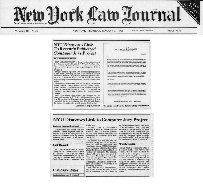 NYU Disavows Link To Recently Publicized Computer Jury Project, New York Law Journal, January 11, 1996