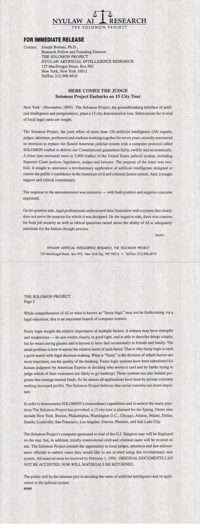 Solomon Project press release #2, November 1995