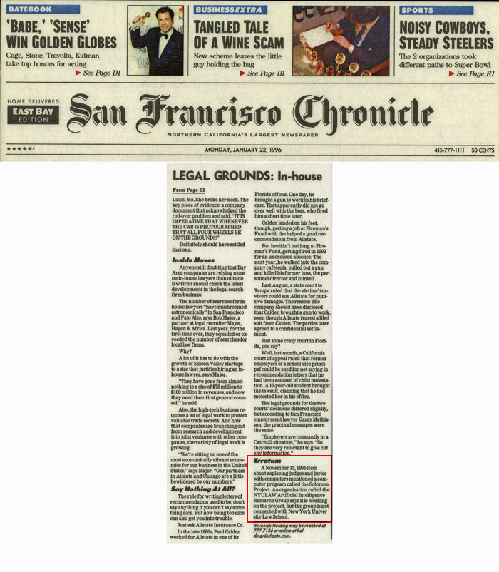 Legal Grounds: In-house, Erratum, San Francisco Chronicle, January 22, 1996