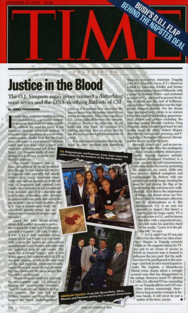 Justice in the Blood, Time, November 13, 2000