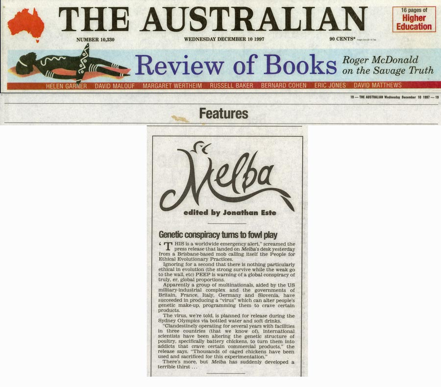 Genetic conspiracy turns to fowl play, Edited by Jonathan Este, The Australian, December 10, 2997