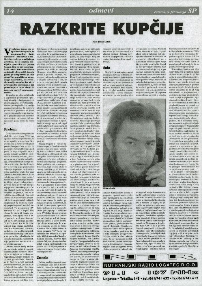 Tazkrite Kupčije, by Janko Ostan, Četrtekslov (Slovene), February 5, 1998