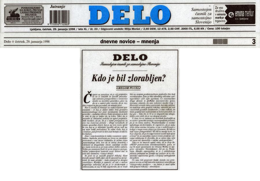 Kdo je bil zlorabljen?, Gregor Pucelj, Delo (Slovene), January 29, 1998