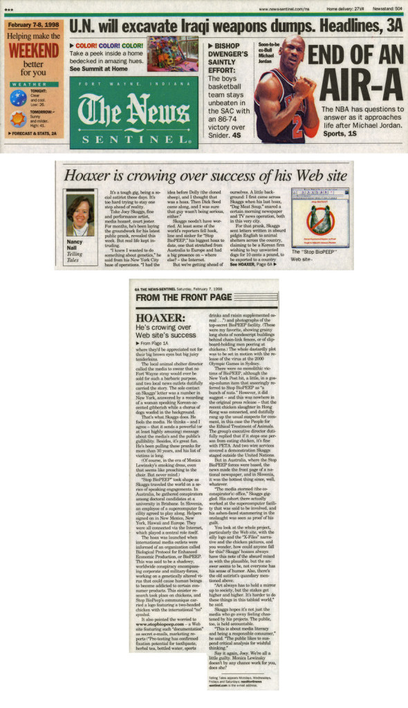 Hoaxer is crowing over success of his Web site, by Nancy Nall, The News Sentinel, February 7, 1998