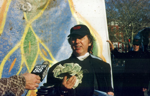 Joey Skaggs at his Doody Rudy event in Washington Square Park in NYC