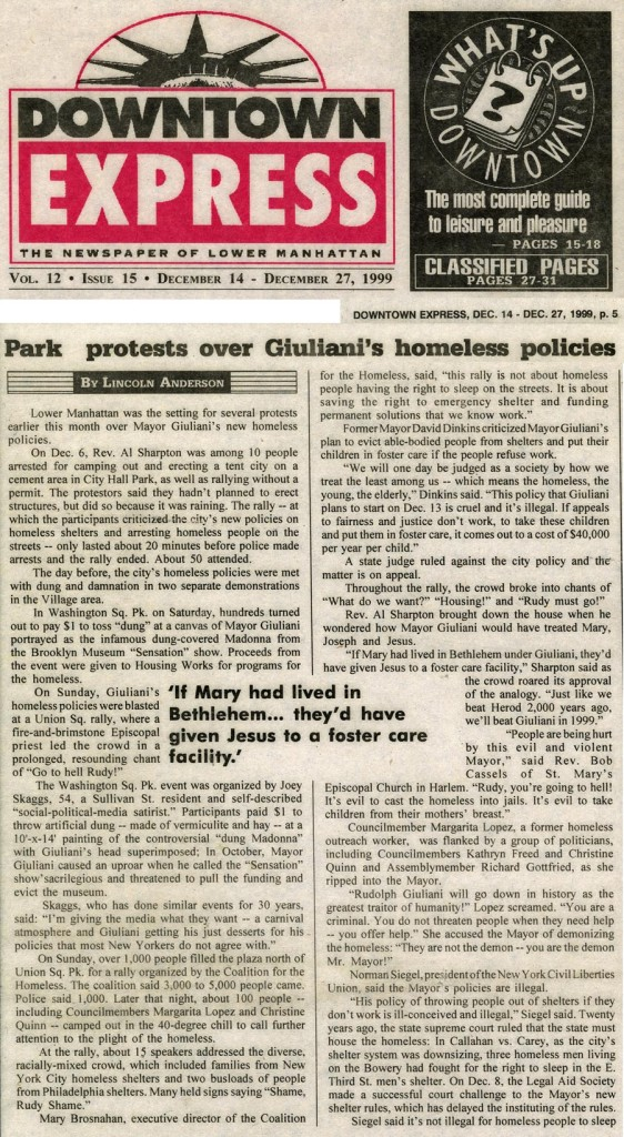 Park protests over Giuliani's homeless policies, Downton Express, December 14, 1999