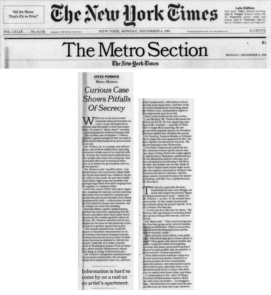 Curious Case Shows Pitfalls of Secrecy, by Joyce Purnick, The New York Times, December 6, 1999