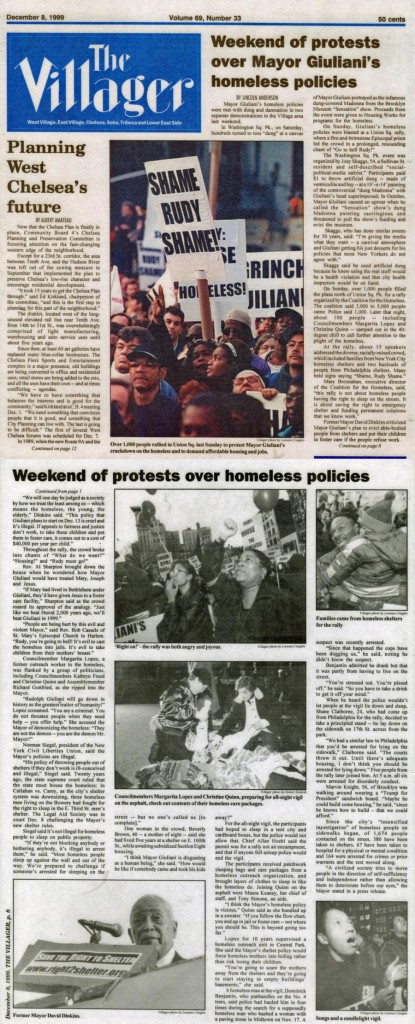 Weekend of protests over Mayor Giuliani's homeless policies, by Lincoln Anderson, The Villager, December 8, 1999