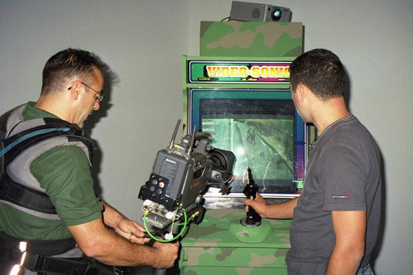 Joey Skaggs' Art Attack arcade game, EACC Museum, October, 2002