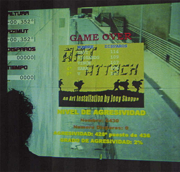 Joey Skaggs' Art Attack arcade game screen, EACC Museum Catalog, October, 2002