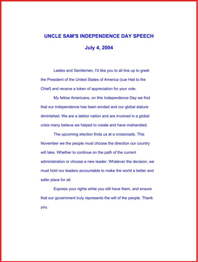 "Uncle Sam's ""Bush!"" parade speech, July 4, 2004"