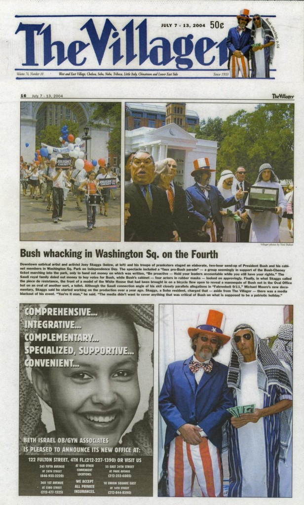 Bush wacking in Washington Sq. on the Fourth, The Villager, July 7, 2004