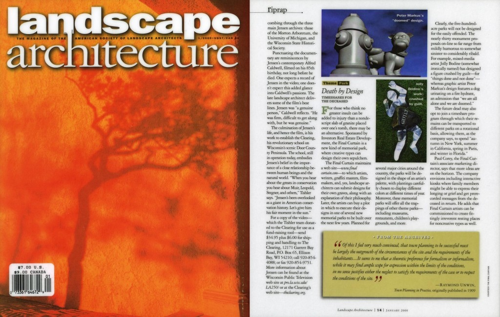 Theme Park: Death by Design, Timeshares for the Deceased, Landscape Architecture, January 2000
