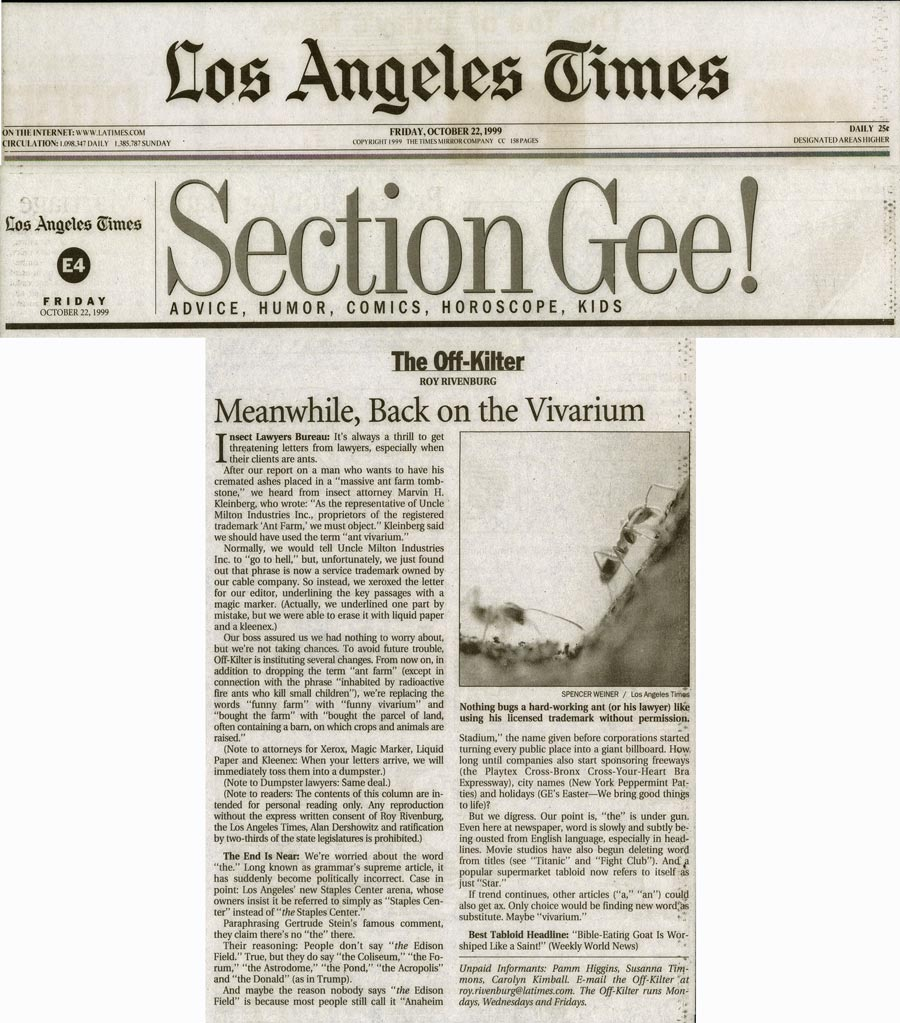 The Off-Kilter: Meanwhile, Back on the Vivarium, by Roy Rivenburg, Los Angeles Times, October 22, 1999