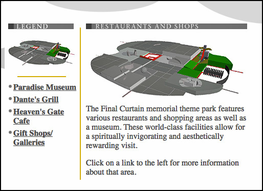 Joey Skaggs' Final Curtain memorial theme park design